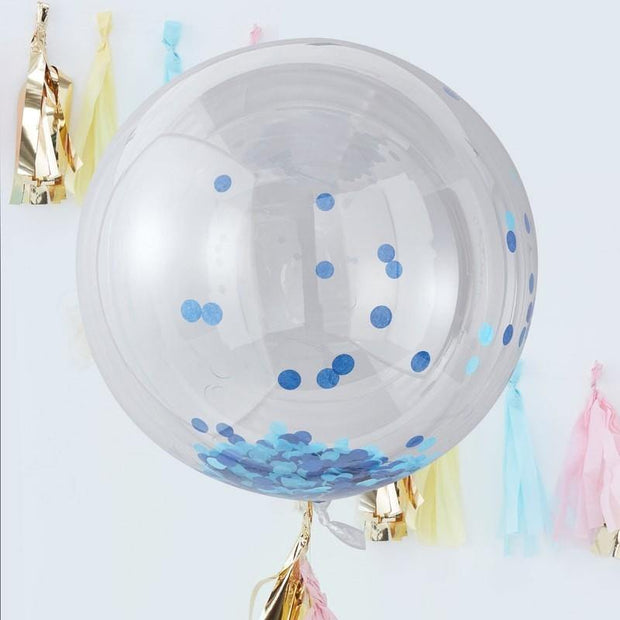 LARGE BLUE CONFETTI ORB BALLOONS - PICK & MIX