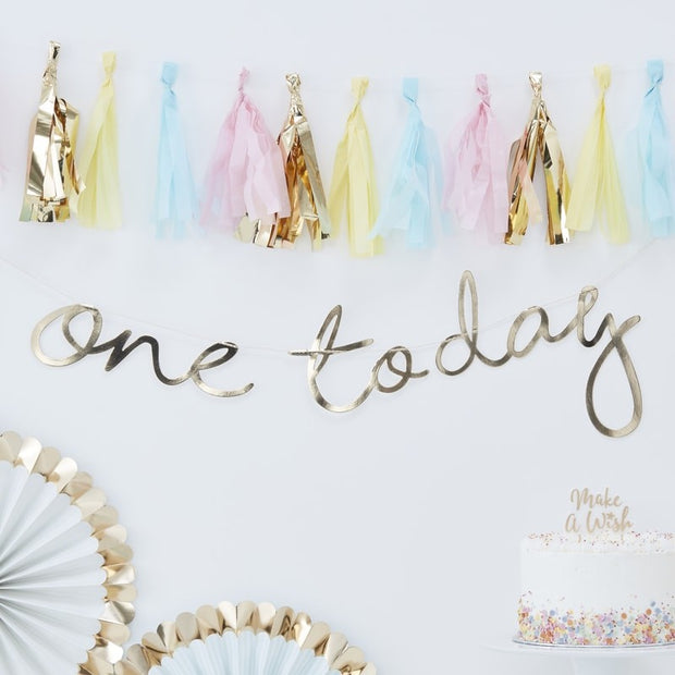 Gold Script One Today Bunting - HoorayDays