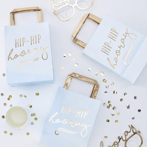 5 Blue and Gold Hip Hip Hooray Party Bags - HoorayDays