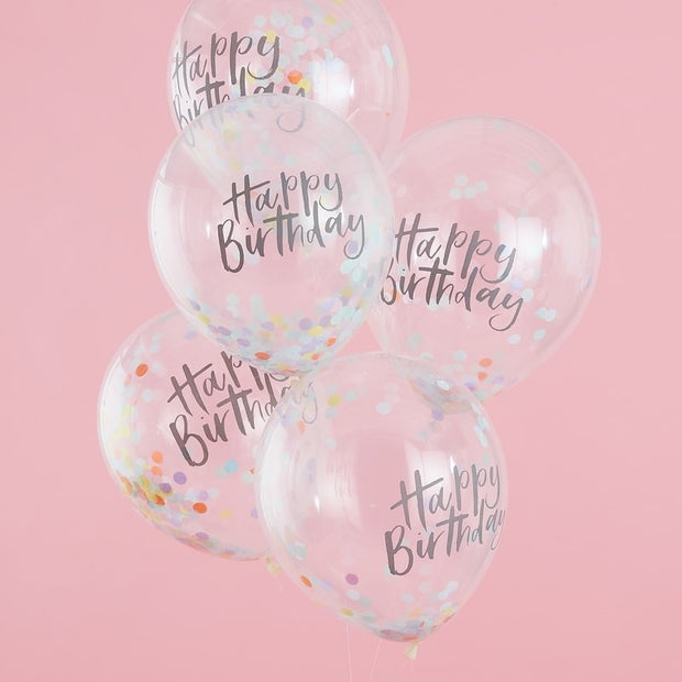5 Pastel Happy Birthday Confetti Balloons - HoorayDays