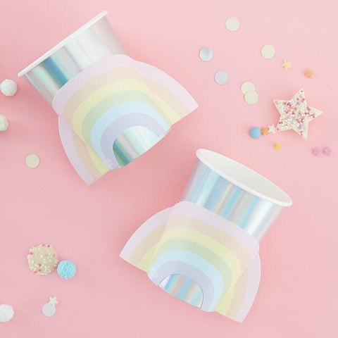 Pastel Rainbow Iridescent Cups