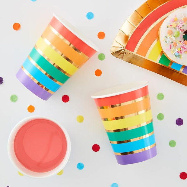 Rainbow and Gold Party Cups
