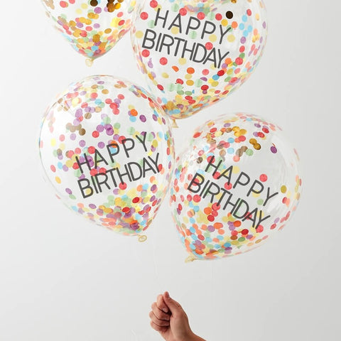 5 Happy Birthday Rainbow Confetti Balloons - HoorayDays