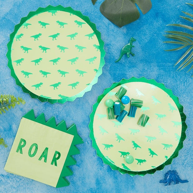 8 Dinosaur Party Plates - HoorayDays