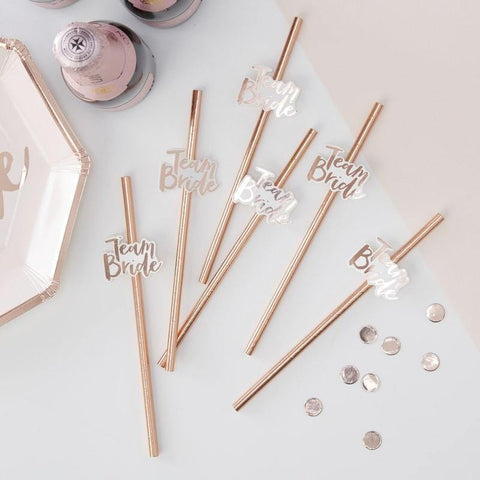 16 Rose Gold Team Bride Straws - HoorayDays