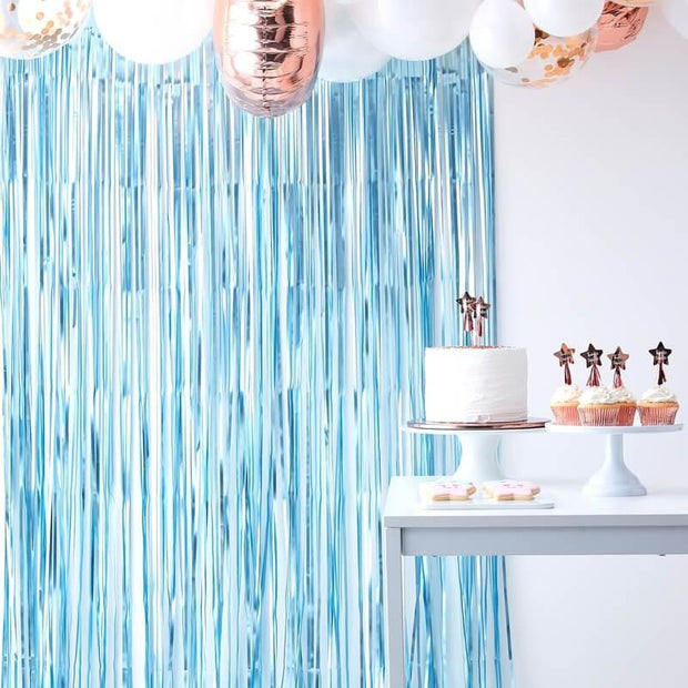 Light Blue Foil Curtain Backdrop