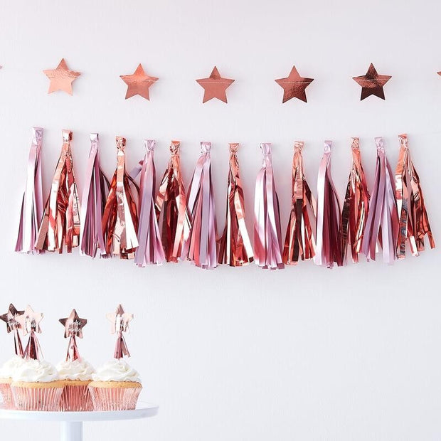 Pink and Rose Gold Tassel Garland