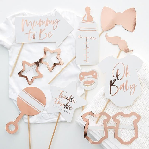 10 Rose Gold Baby Shower Photo Props - HoorayDays