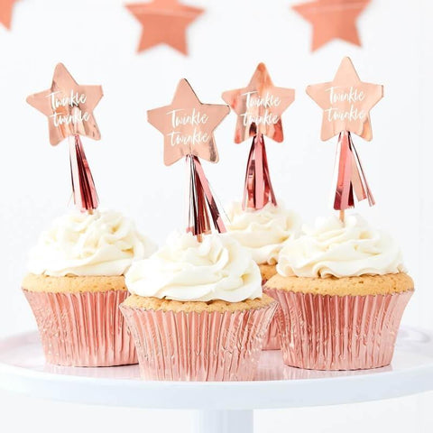 12 Rose Gold Star Cupcake Toppers - HoorayDays