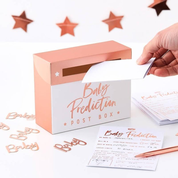 Rose Gold Baby Shower Prediction Game - HoorayDays