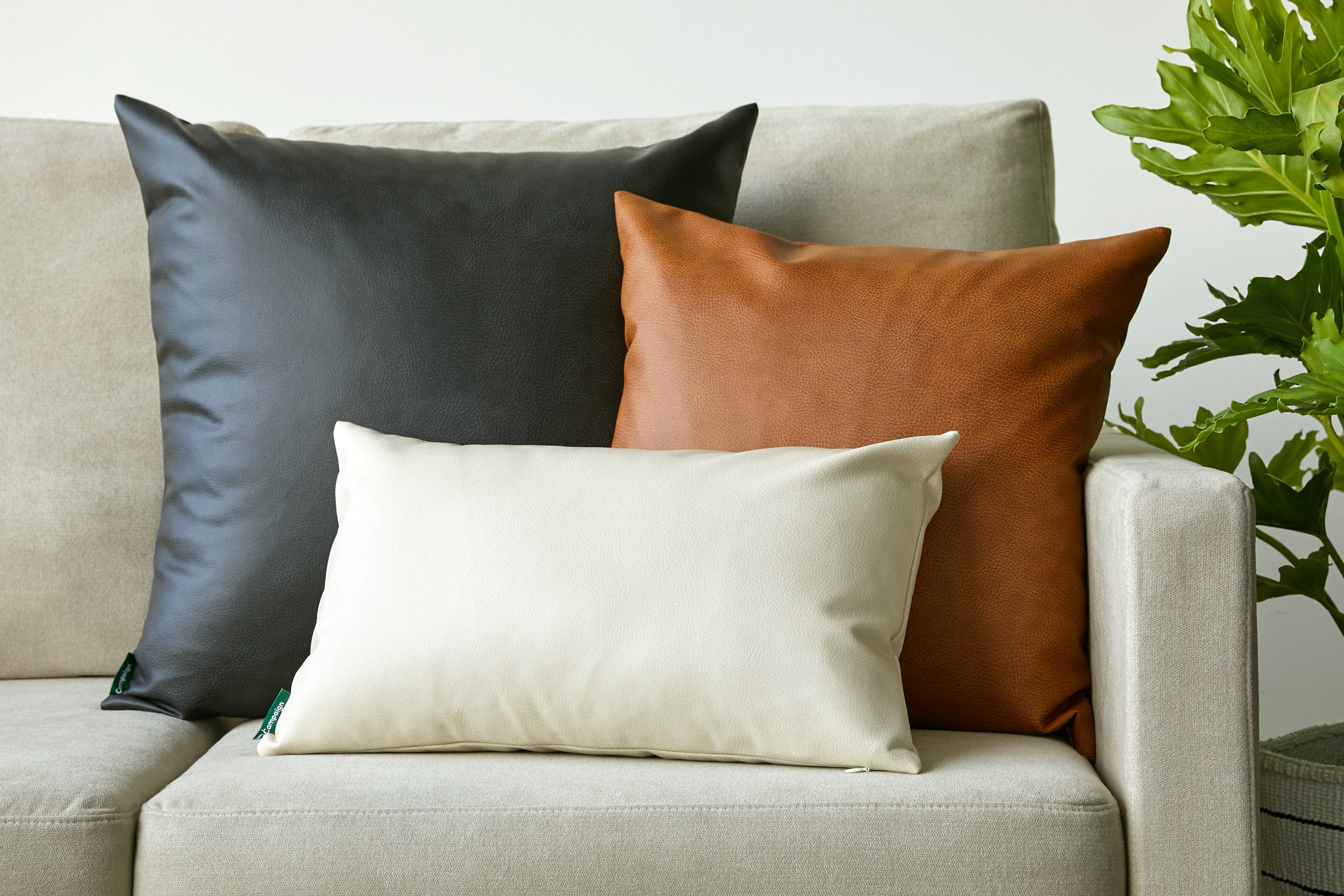Vegan Leather Pillows Ethical Decorative Throw Pillows By Campaign