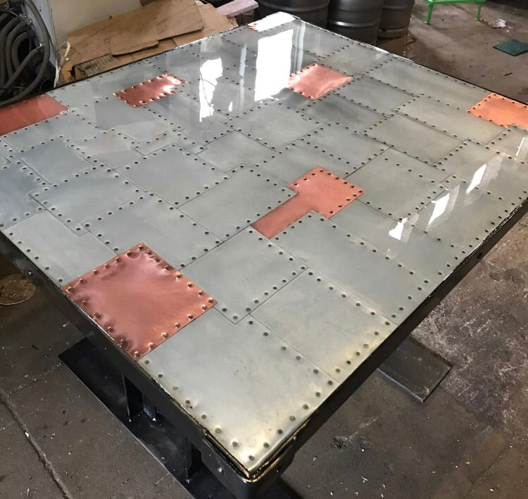 Delicieux ... Copper And Zinc Patchwork Table Tops ...