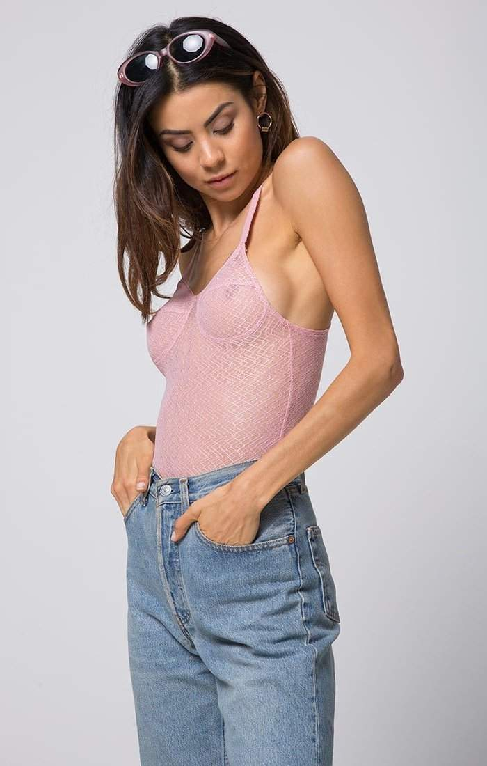 Abbey Bustier Sheer Bodysuit in Pink - Bodysuit - Motel - BKLYN Bodies