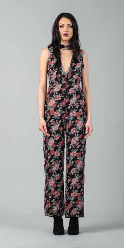 Amanda Jumpsuit in Black Rose Floral - Final Sale - Jumpsuit - Lucca - BKLYN Bodies