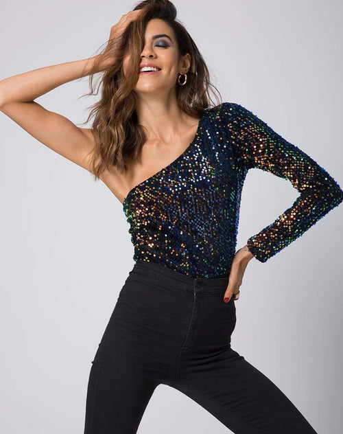 Aurora Holographic Sequin One-Shoulder Bodysuit in Multi - Bodysuit - Motel - BKLYN Bodies