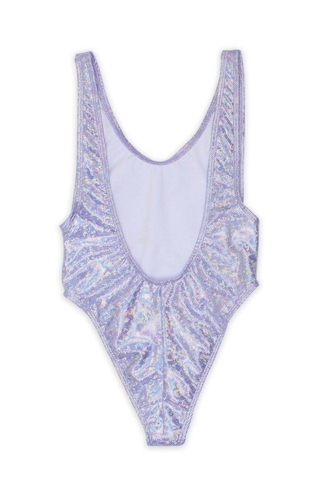BeachBabes Holographic Glitter One Piece Swimsuit in Purple - Swimsuit - Dippin Daisy - BKLYN Bodies