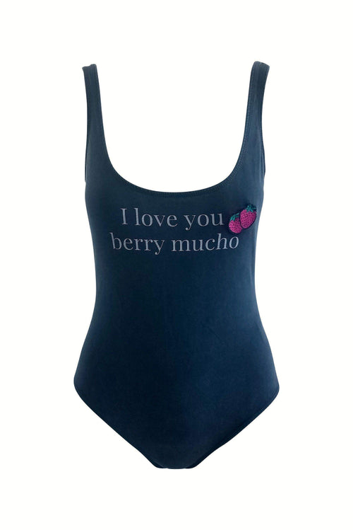 Berry Mucho Love Slogan Tank Bodysuit in Faded Black - Bodysuit - BKLYN Bodies - BKLYN Bodies