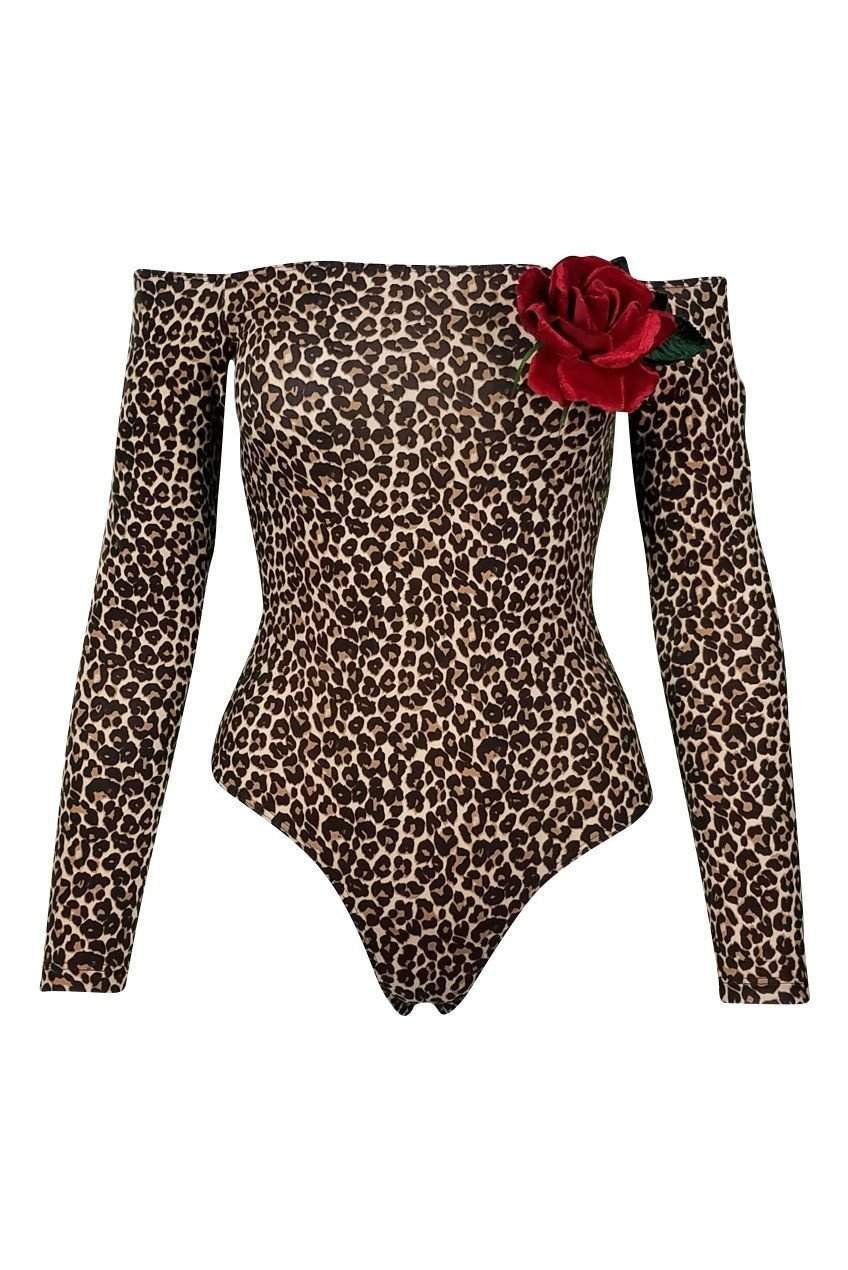 BK Zoo Off the Shoulder Bodysuit in Leopard - Bodysuit - American Apparel - BKLYN Bodies