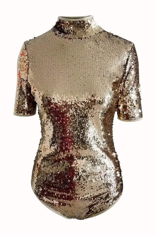 Broadway Sequin Bodysuit in Gold