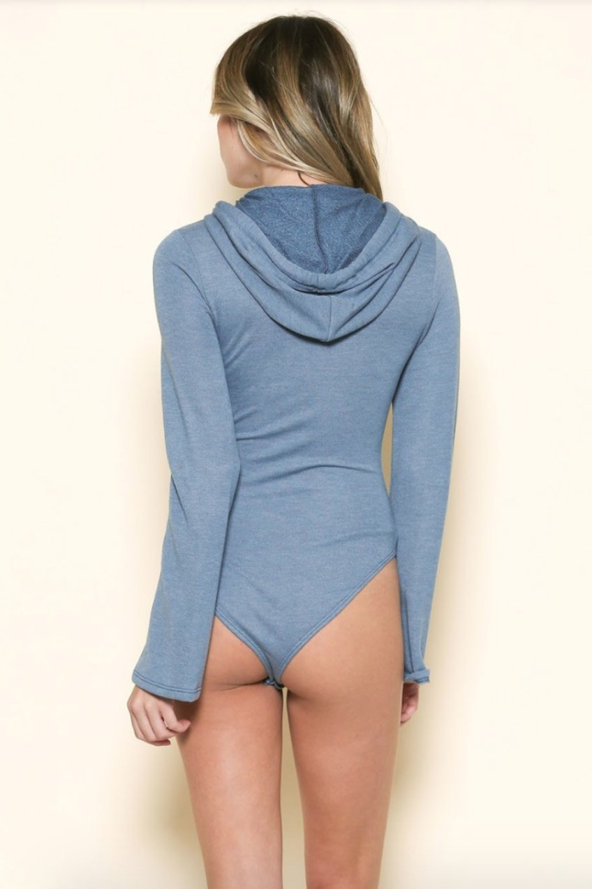 Brooklyn Bell Sleeve Hoodie Bodysuit in Blue-Bodysuit-BKLYN Bodies