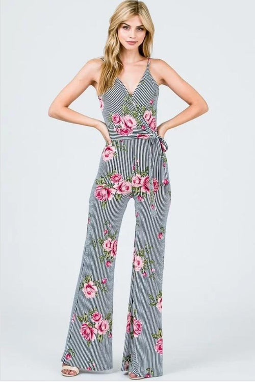 21be2274db57 Brooklynista Blue and White Striped Floral Jumpsuit - Jumpsuit - Awoo - BKLYN  Bodies