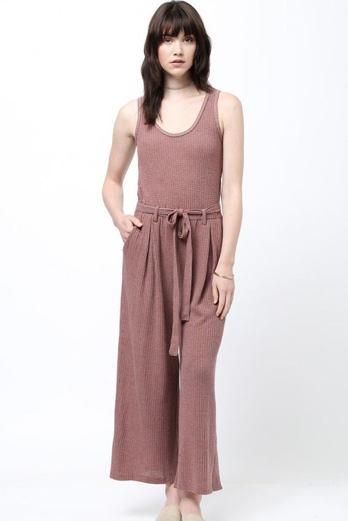 Chill Vibes Knit Jumpsuit in Wine-Jumpsuit-BKLYN Bodies