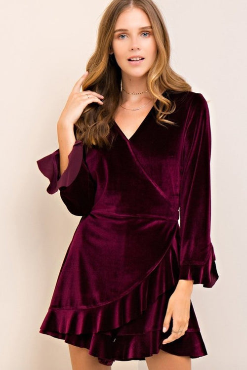 Clermont Ruffle Romper Playsuit in Burgundy-Playsuit-BKLYN Bodies
