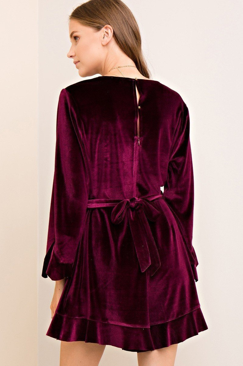 Clermont Ruffle Romper Playsuit in Burgundy - Playsuit - Entro - BKLYN Bodies