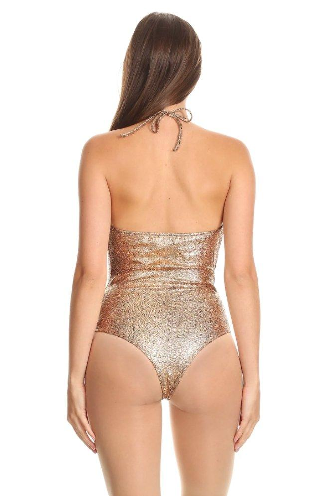 Crown Heights Metallic Gold Bodysuit in Copper-Bodysuit-BKLYN Bodies