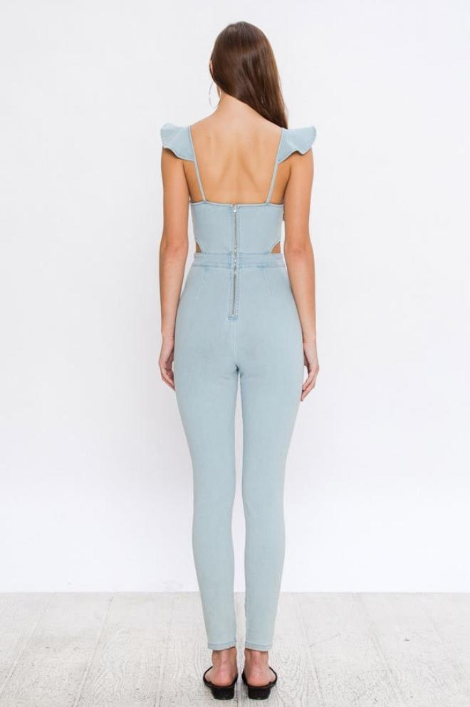 Dear Summer Ruffle Denim Jumpsuit in Light Blue - Jumpsuit - Holly & Molly - BKLYN Bodies