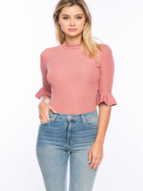 Delilah Ruffle Sleeve Bodysuit in Mauve - Final Sale - Bodysuit - Timing - BKLYN Bodies