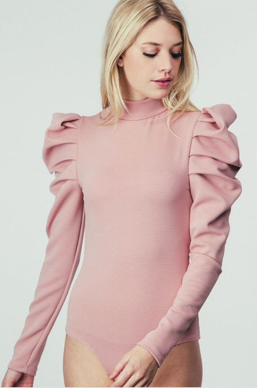 Empire Puff Sleeve Bodysuit in Pink - Bodysuit - Fashion Vitamin - BKLYN Bodies