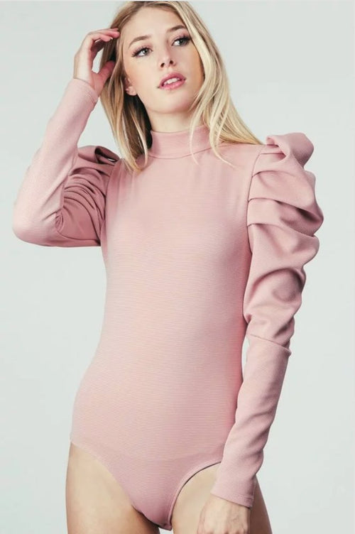 Empire Puff Sleeve Bodysuit in Pink-Bodysuit-BKLYN Bodies
