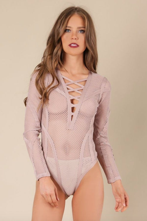 Fatale Crisscross Mesh Bodysuit in Dusty Wineberry - Bodysuit - Wow Couture - BKLYN Bodies