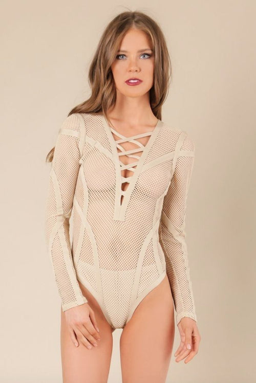 Fatale Crisscross Mesh Bodysuit in Tan - Bodysuit - BKLYN Bodies - BKLYN Bodies