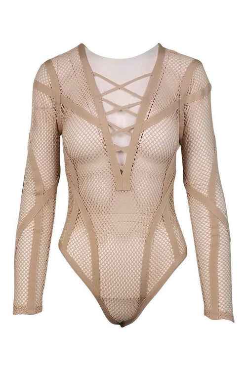Fatale Crisscross Mesh Bodysuit in Tan - Bodysuit - Wow Couture - BKLYN Bodies
