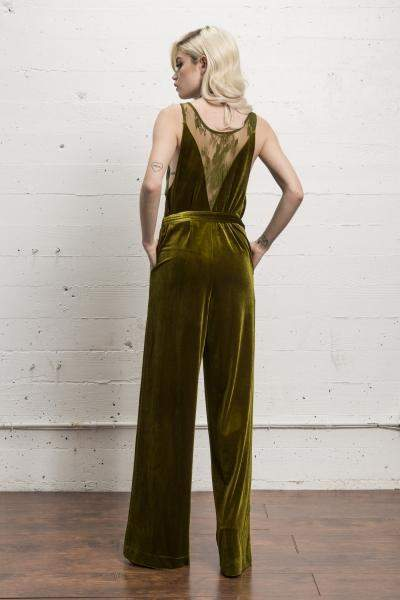 Fort Hamilton Velvet Jumpsuit in Golden Lime