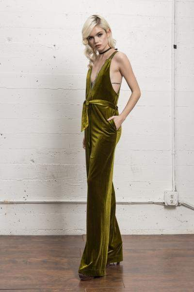 Fort Hamilton Velvet Jumpsuit in Golden Lime - Jumpsuit - WYLDR - BKLYN Bodies