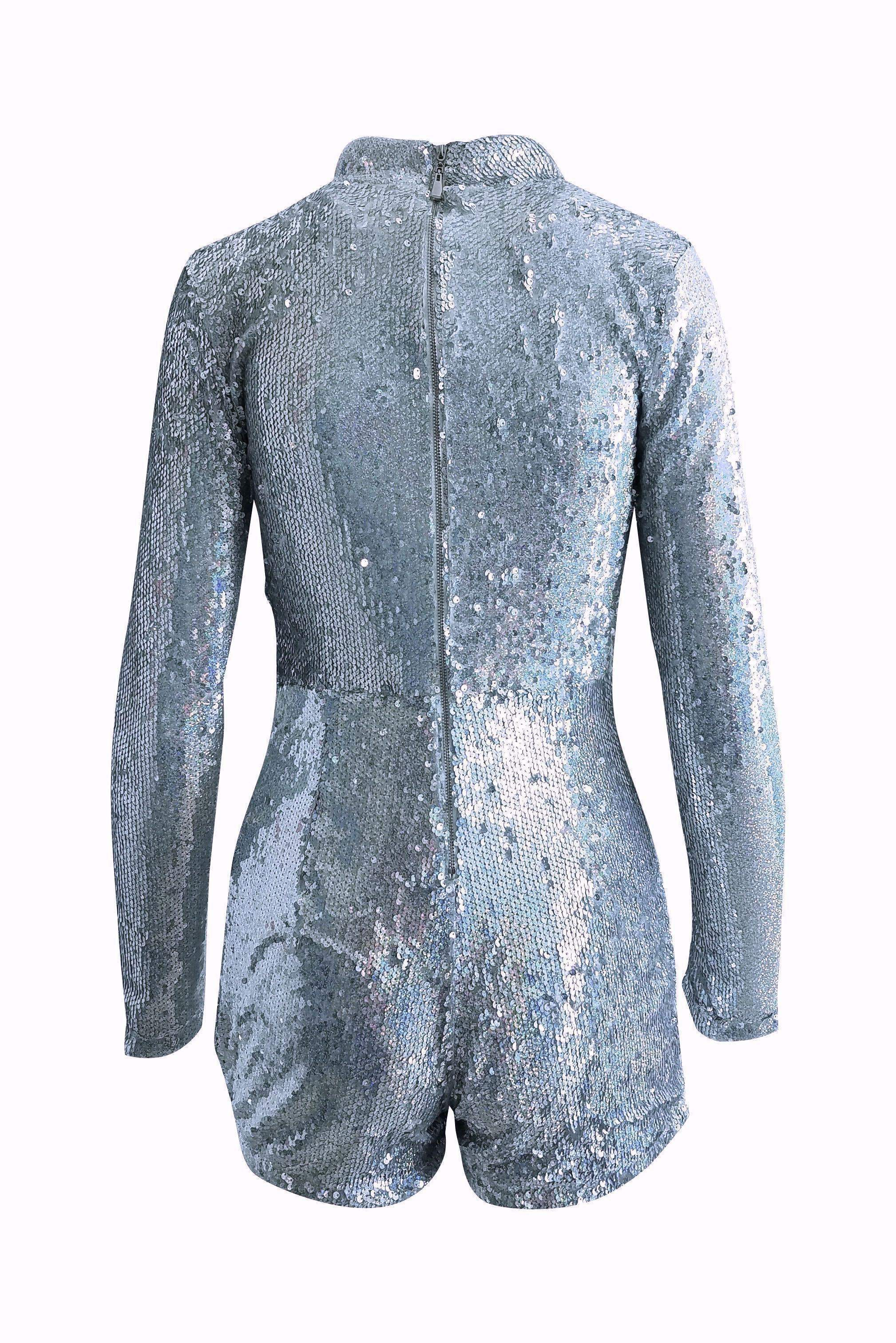 Galaxy Dreams Holographic Sequin Romper Playsuit in Silver - Playsuit - Xtaren - BKLYN Bodies