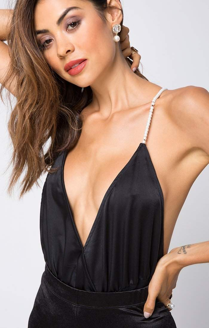 Gemma Pearl Straps Bodysuit in Black-Bodysuit-BKLYN Bodies