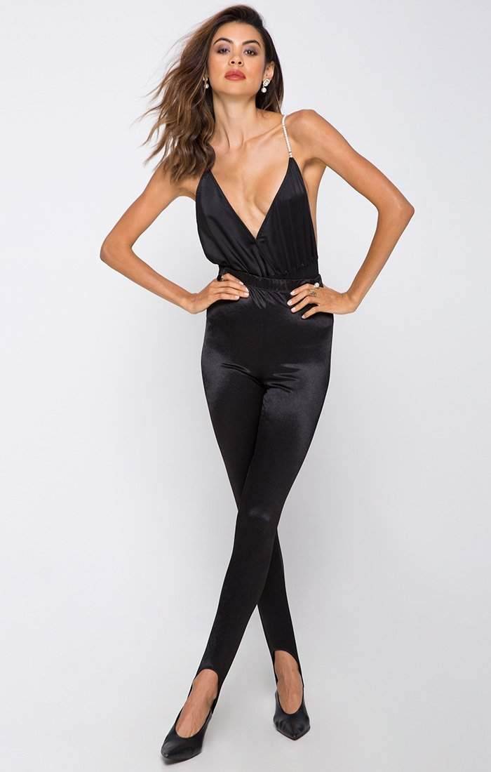 Gemma Pearl Straps Bodysuit in Black - Bodysuit - Motel - BKLYN Bodies