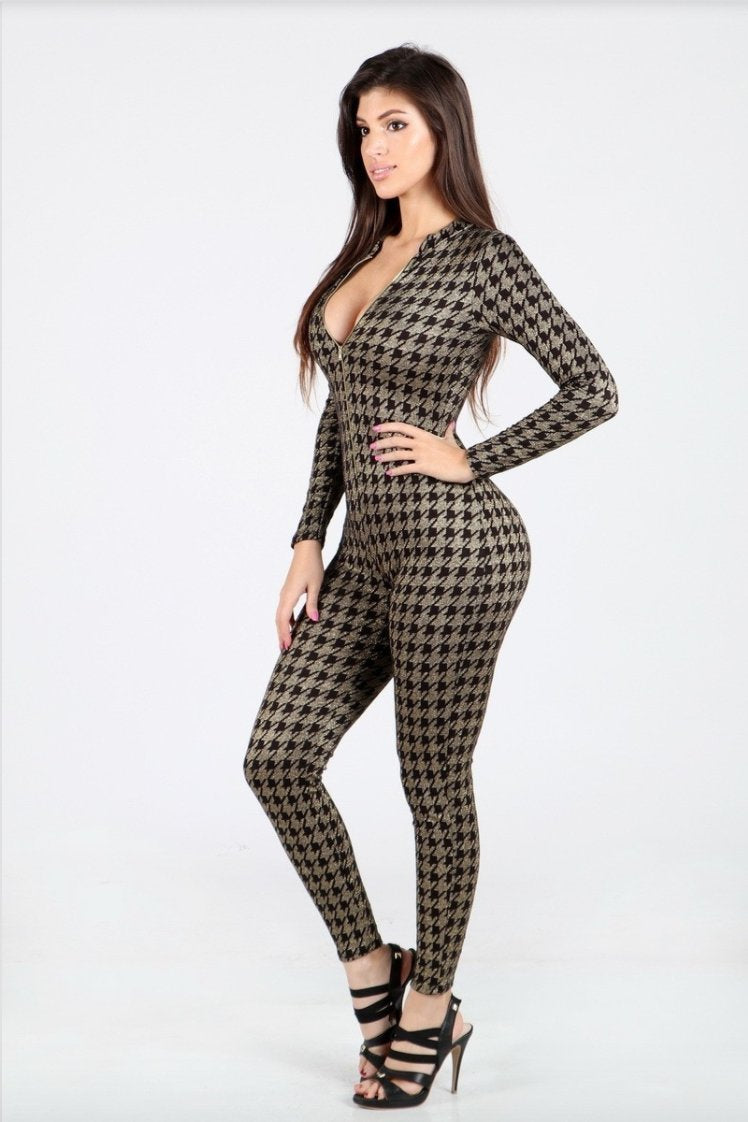 Glitterati Houndstooth Plaid Glitter Jumpsuit in Black & Gold - Final Sale - Jumpsuit - Uptown Apparel - BKLYN Bodies