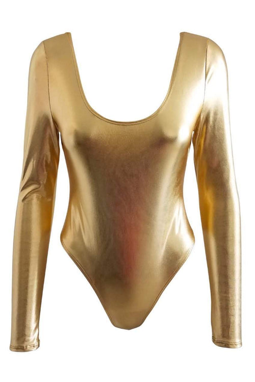 Goddess Gold Lame Bodysuit
