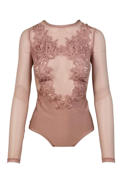 Heartbreaker Floral Mesh Bodysuit in Dusty Wineberry - Bodysuit - Wow Couture - BKLYN Bodies