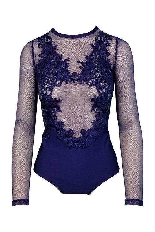 Heartbreaker Floral Mesh Bodysuit in Navy - Bodysuit - Wow Couture - BKLYN Bodies
