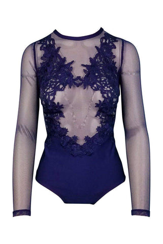Fatale Crisscross Mesh Bodysuit in Dusty Wineberry
