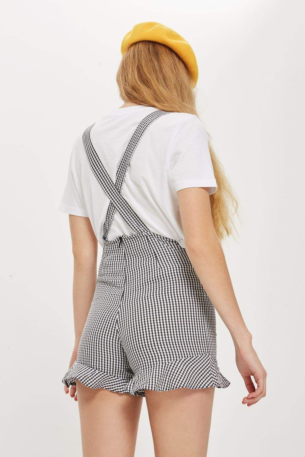 High Street Pinafore Gingham Romper Playsuit in Black - Playsuit - BKLYN Bodies - BKLYN Bodies