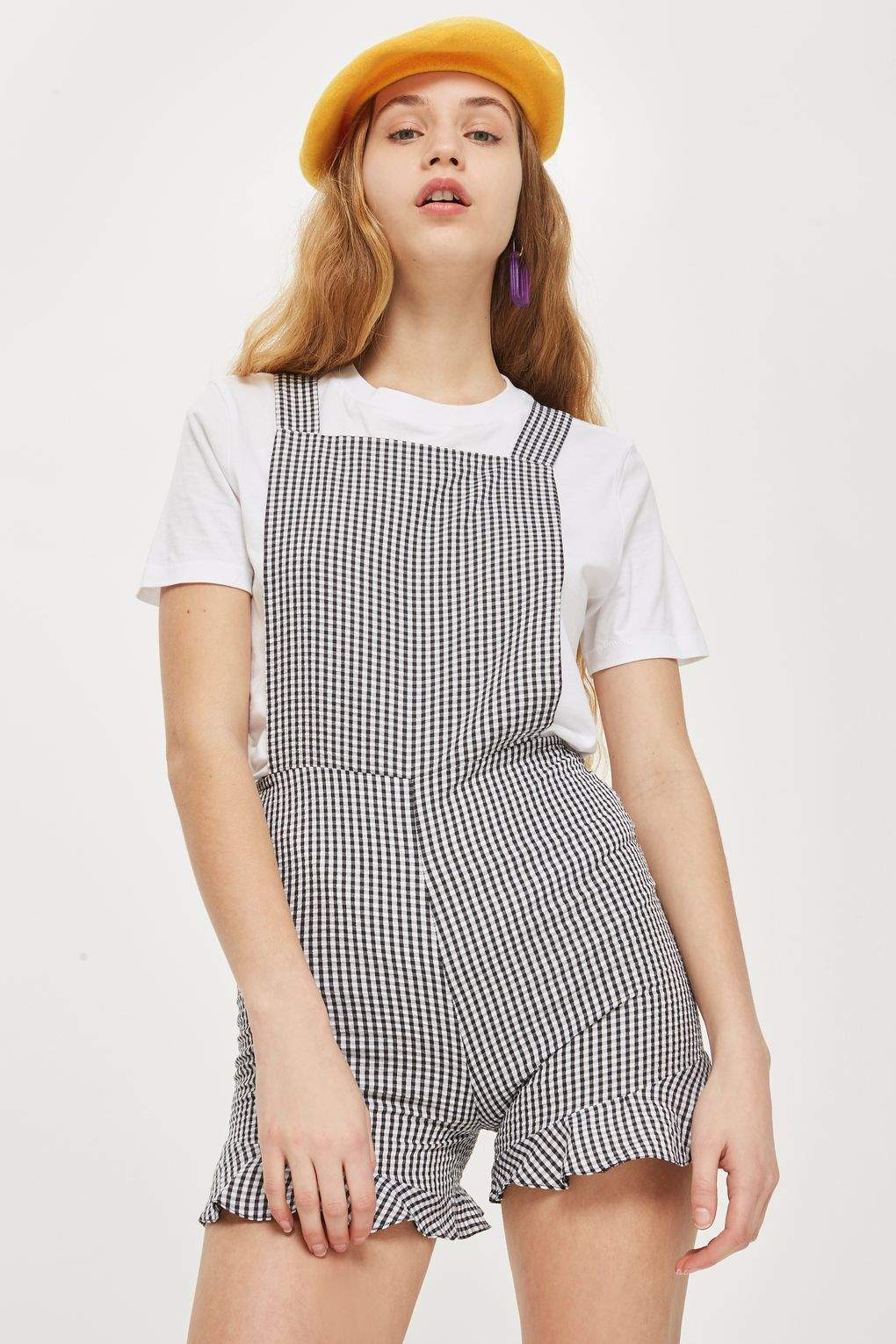 High Street Pinafore Gingham Romper Playsuit in Black - Final Sale - Playsuit - BKLYN Bodies - BKLYN Bodies