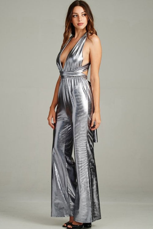 Intergalactic Metallic Jumpsuit in Silver - Jumpsuit - Miss California - BKLYN Bodies