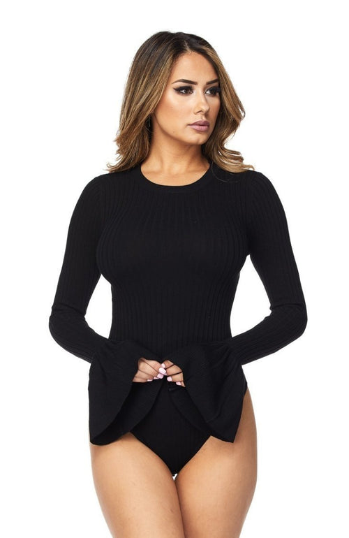 Isabelle Ribbed Bell Sleeve Bodysuit in Black-Bodysuit-BKLYN Bodies